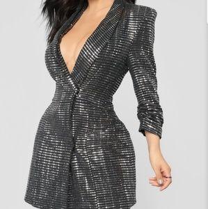 Super cute, Silver sequin blazer dress
